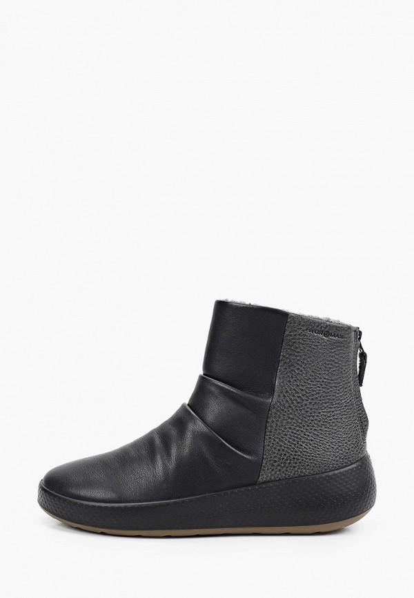 женские высокие ботинки ecco, черные