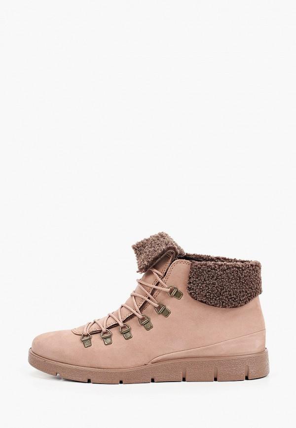 женские высокие ботинки ecco, розовые