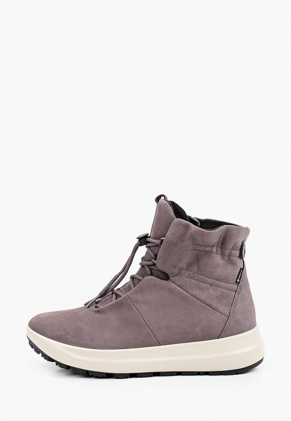 женские высокие ботинки ecco, серые