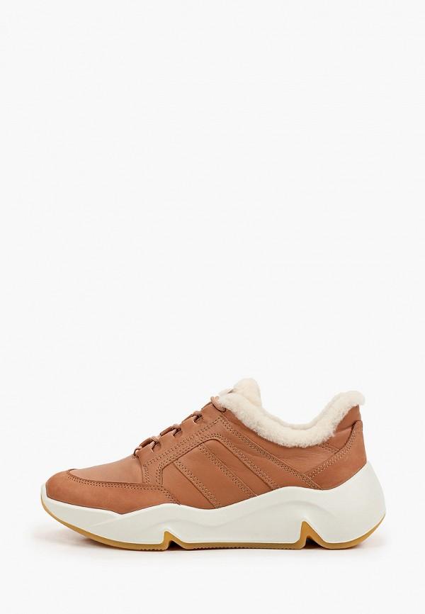 женские низкие кроссовки ecco, коричневые