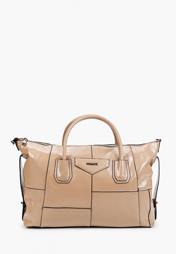 женская сумка с ручками vitacci, бежевая