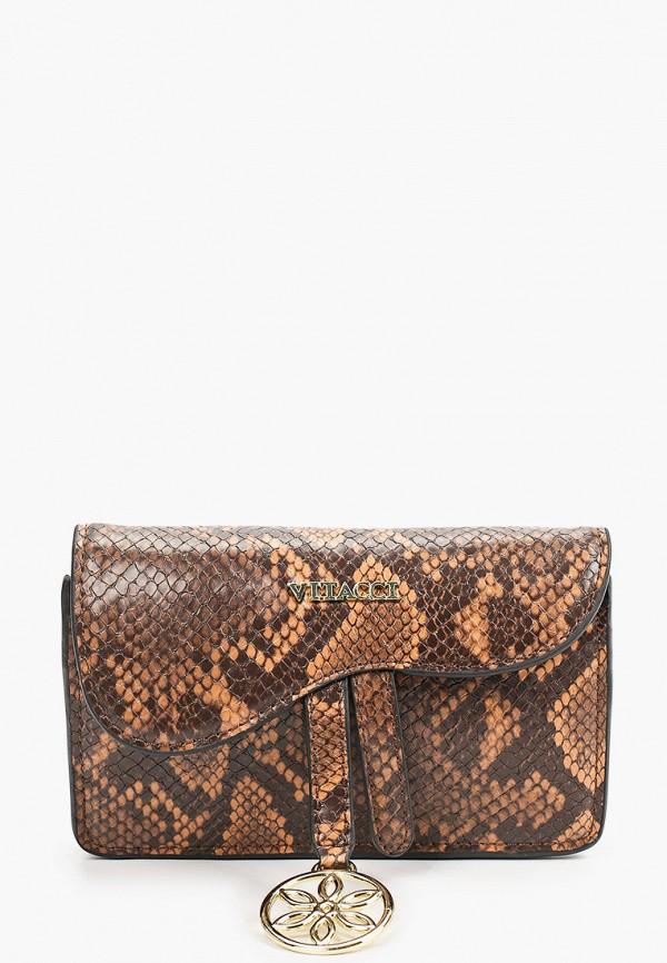 женская поясные сумка vitacci, коричневая