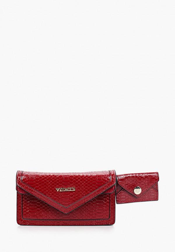 женская поясные сумка vitacci, бордовая