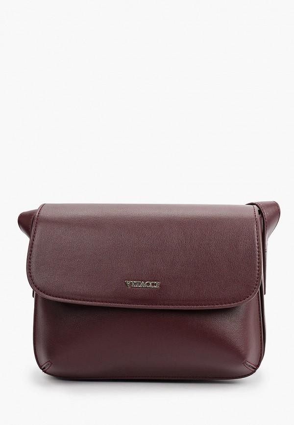 женская сумка через плечо vitacci, фиолетовая