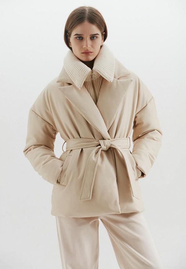женская кожаные куртка love republic, бежевая