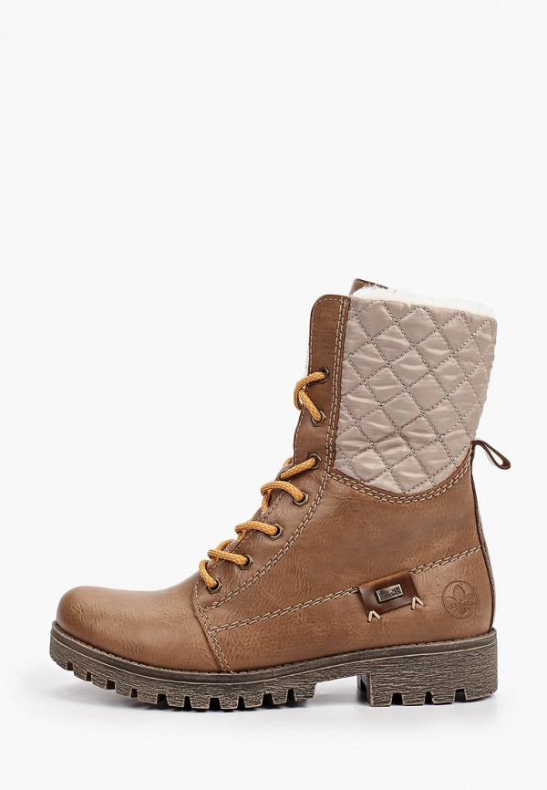женские высокие ботинки rieker, коричневые