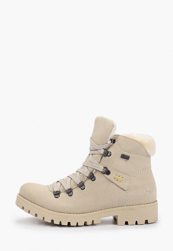 женские высокие ботинки rieker, серые