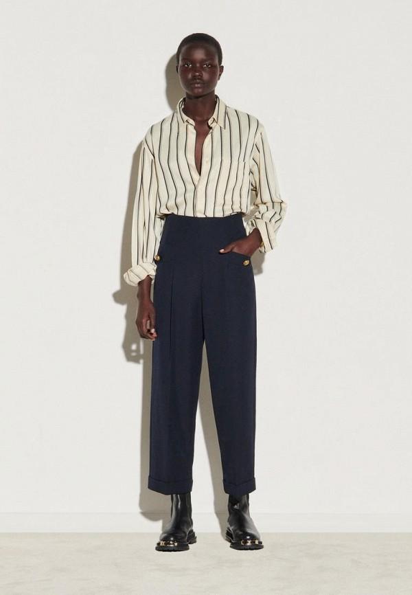 женские классические брюки sandro, синие