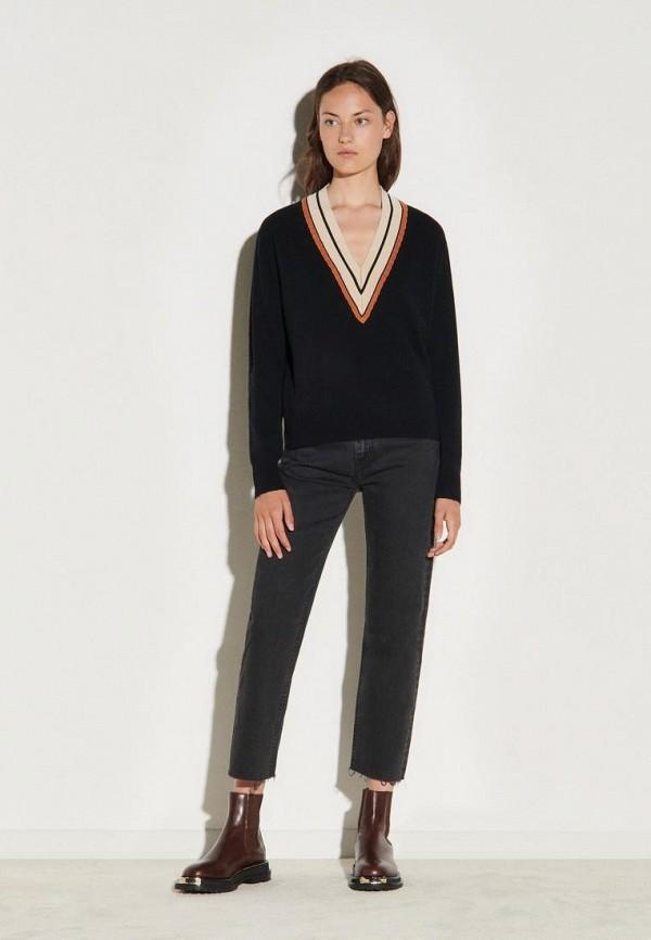женский пуловер sandro, черный