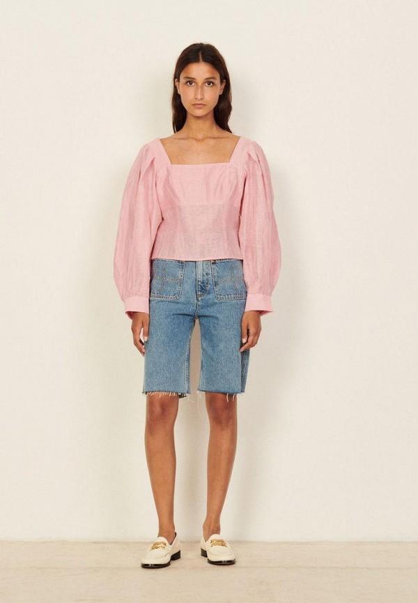 женская блузка sandro, розовая