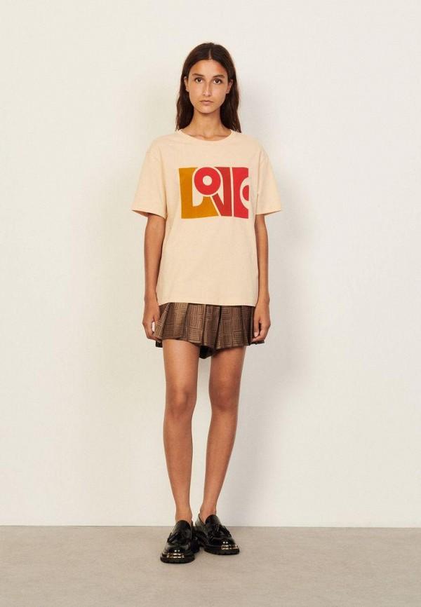женская футболка sandro, бежевая