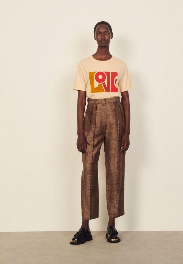 женские повседневные брюки sandro, коричневые