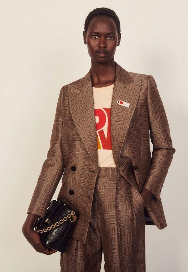 женский пиджак sandro, коричневый
