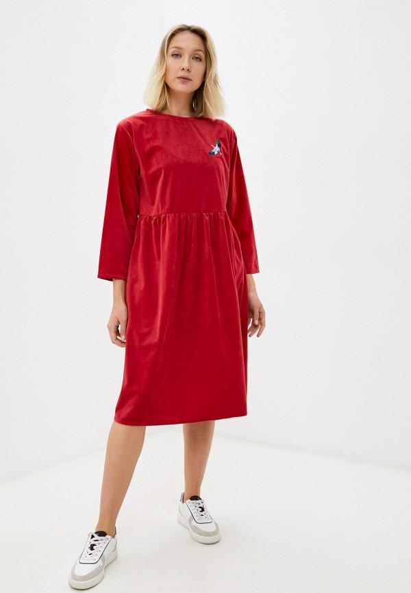 женское повседневные платье берегите птиц, красное