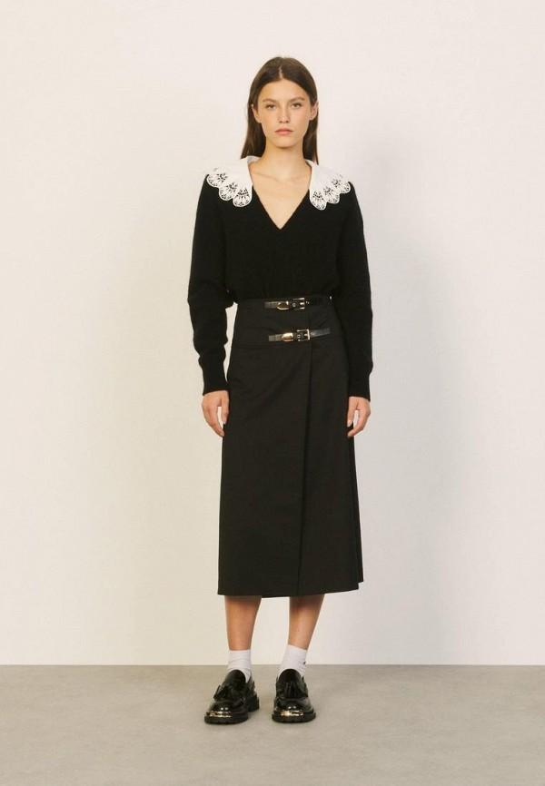женская юбка-трапеции sandro, черная