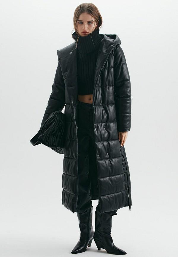 женская кожаные куртка love republic, черная