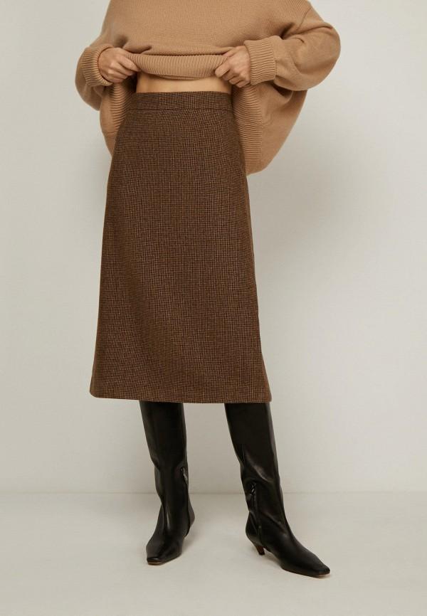 женская юбка-трапеции 12storeez, коричневая