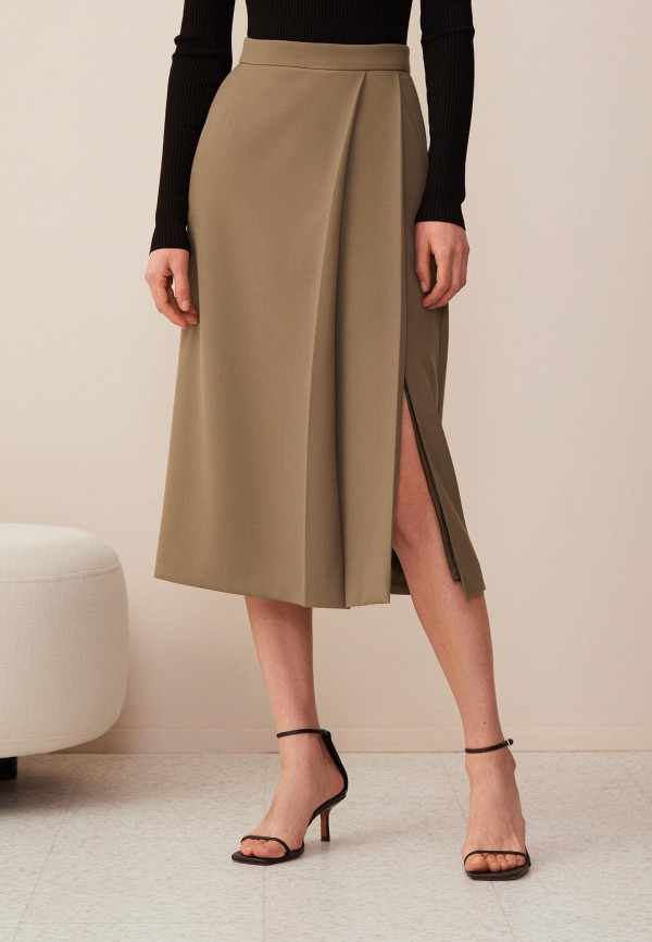 женская юбка-трапеции 12storeez, хаки