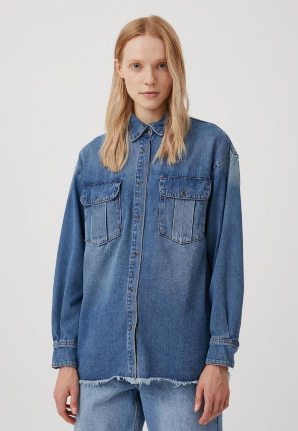 Рубашка джинсовая Finn Flare синего цвета