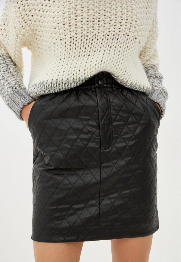 женская кожаные юбка love republic, черная