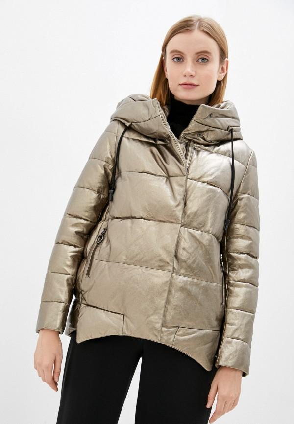 женская кожаные куртка снежная королева, золотая