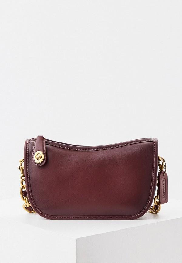 женская сумка через плечо coach, коричневая
