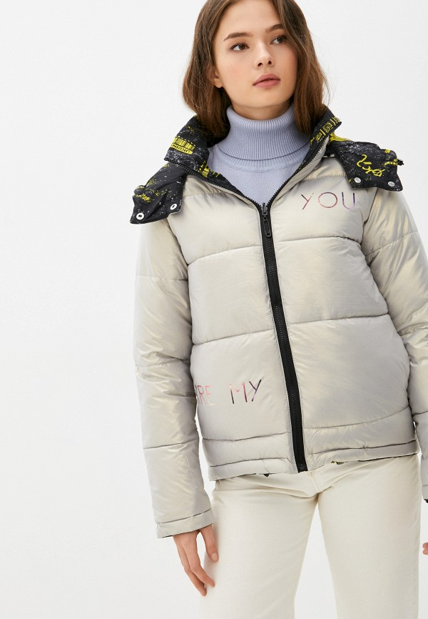 женская утепленные куртка fresh cotton, серебряная