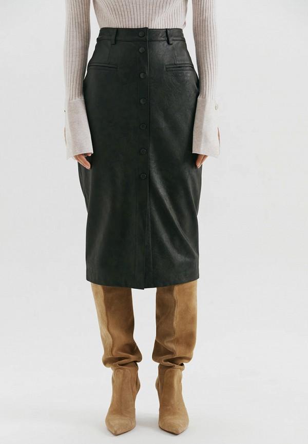 женская кожаные юбка love republic, зеленая