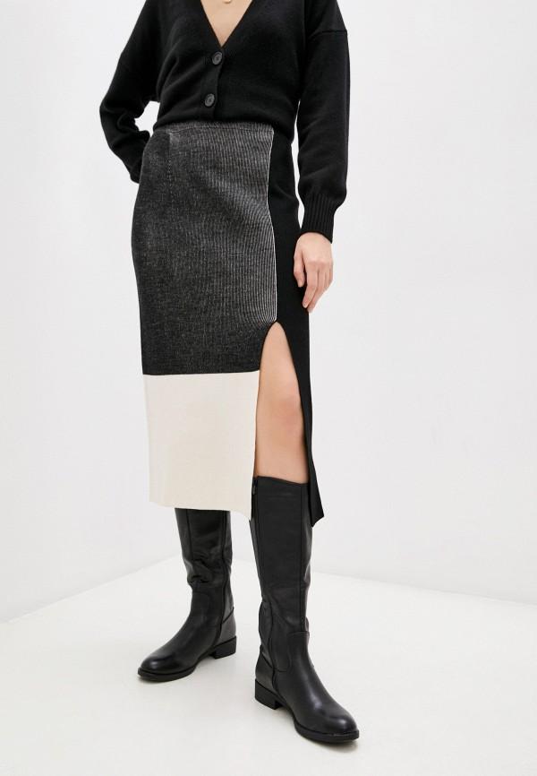 женская прямые юбка falconeri, черная