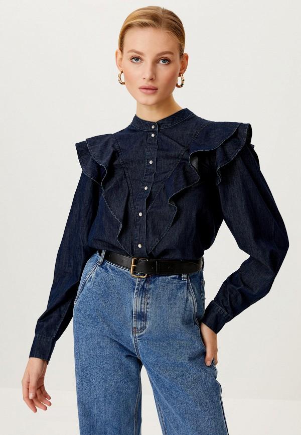 женская джинсовые рубашка sela, синяя