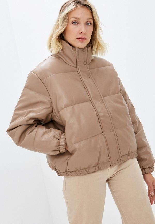 женская кожаные куртка baon, коричневая