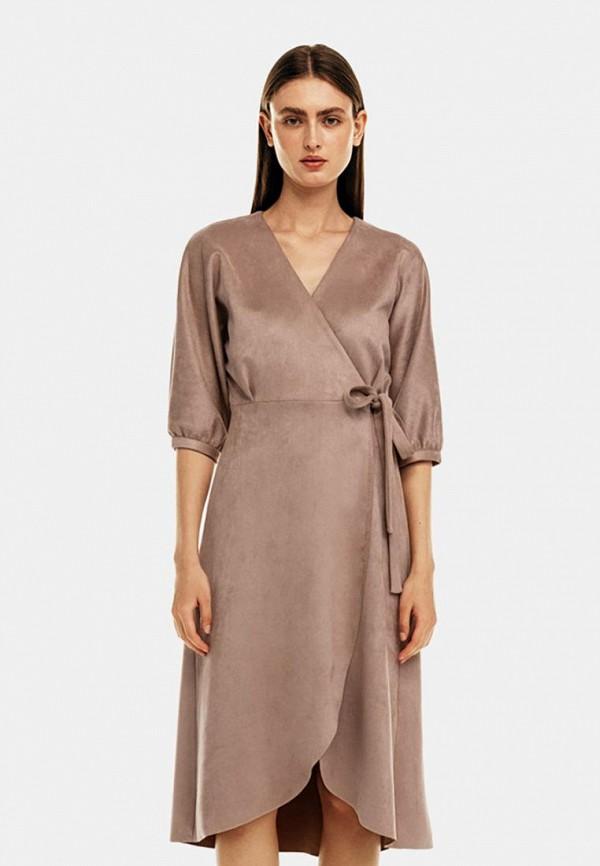 женское кожаные платье befree, бежевое