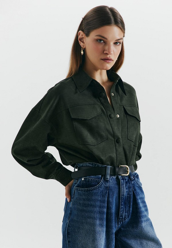 женская блузка с длинным рукавом love republic, зеленая