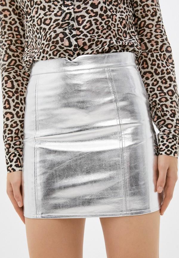 женская кожаные юбка fresh cotton, серебряная