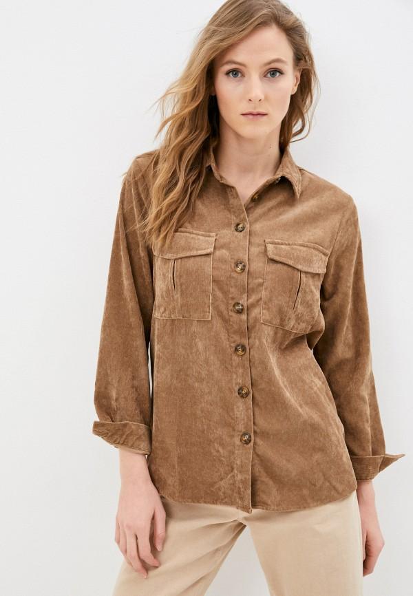 женская рубашка с длинным рукавом baon, коричневая