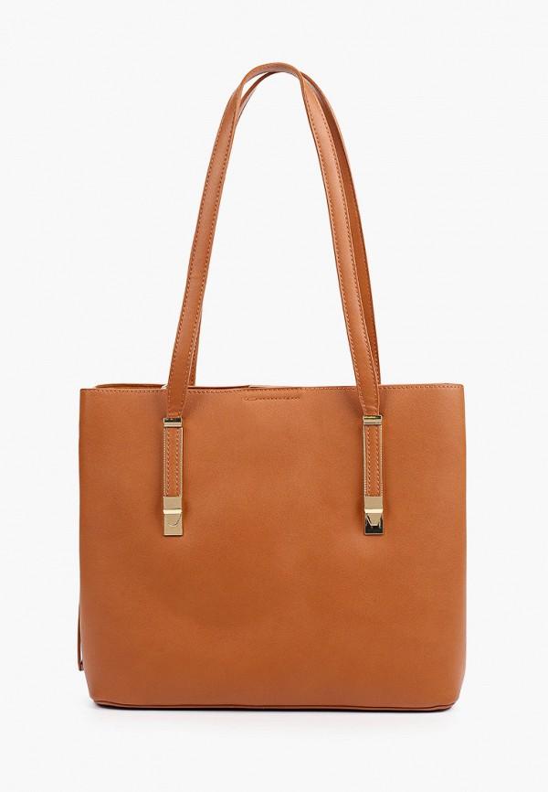 женская сумка с ручками zenden, коричневая