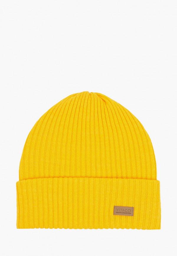 женская шапка vitacci, желтая