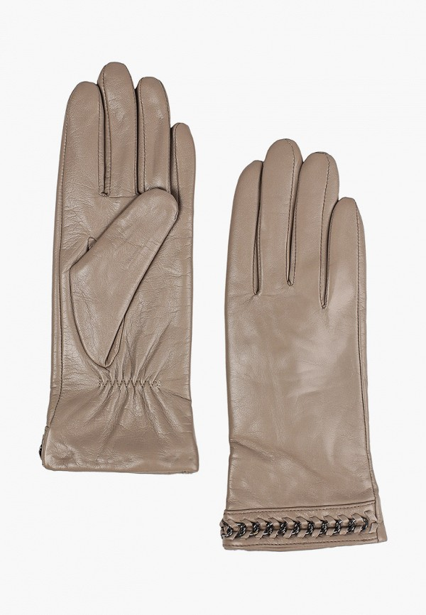 женские кожаные перчатки vitacci, бежевые