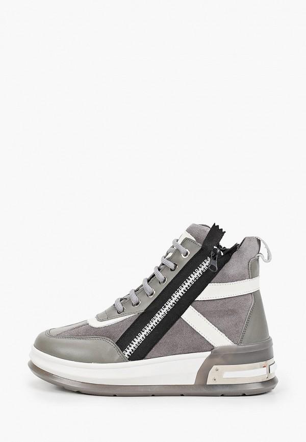 женские высокие ботинки grand style, серые