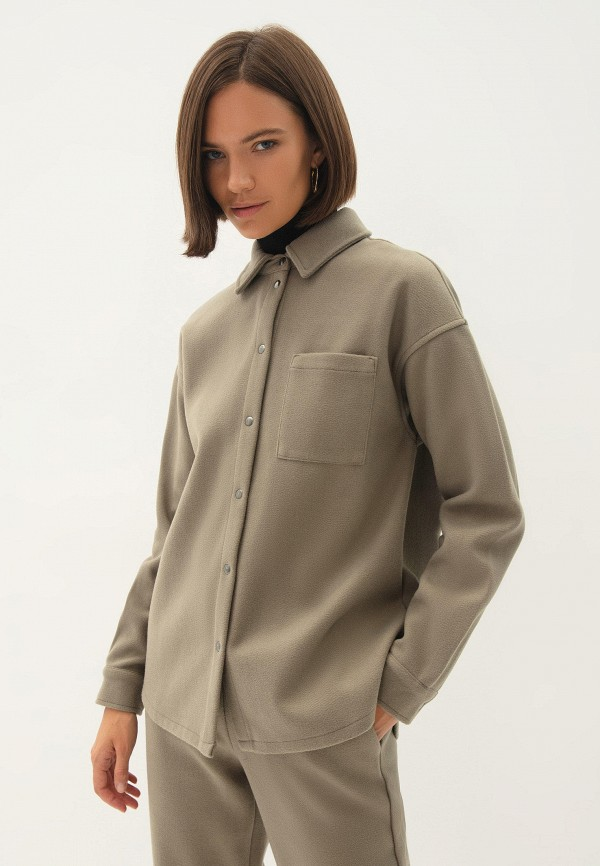женская рубашка с длинным рукавом zarina, зеленая