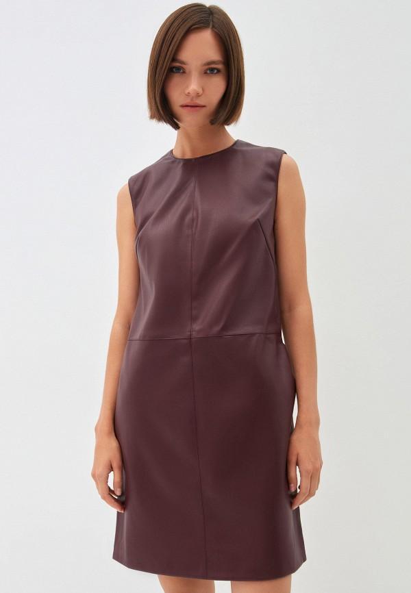 женское кожаные платье zarina, красное