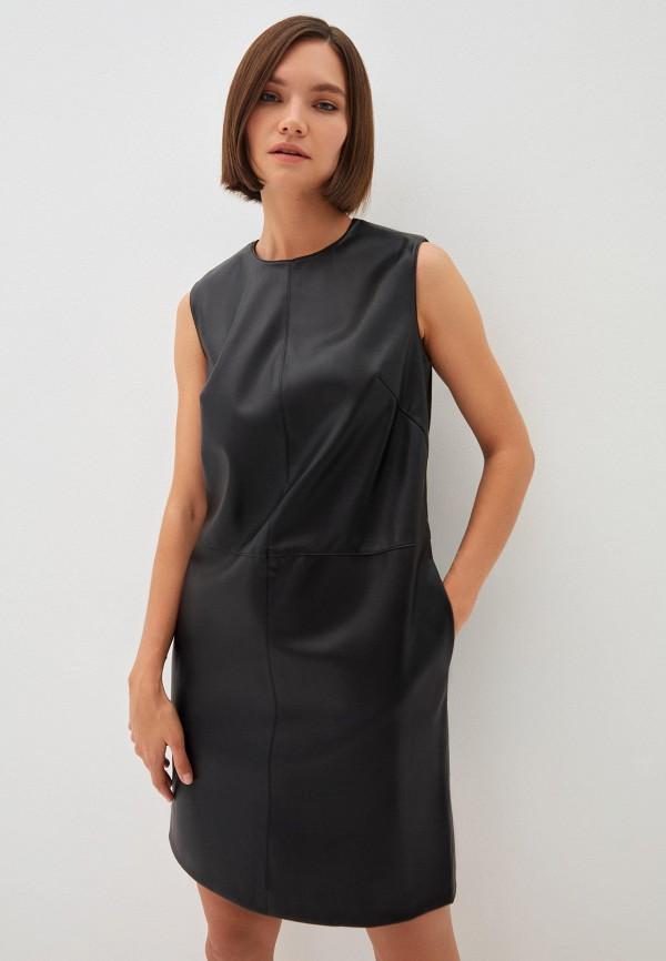 женское кожаные платье zarina, черное