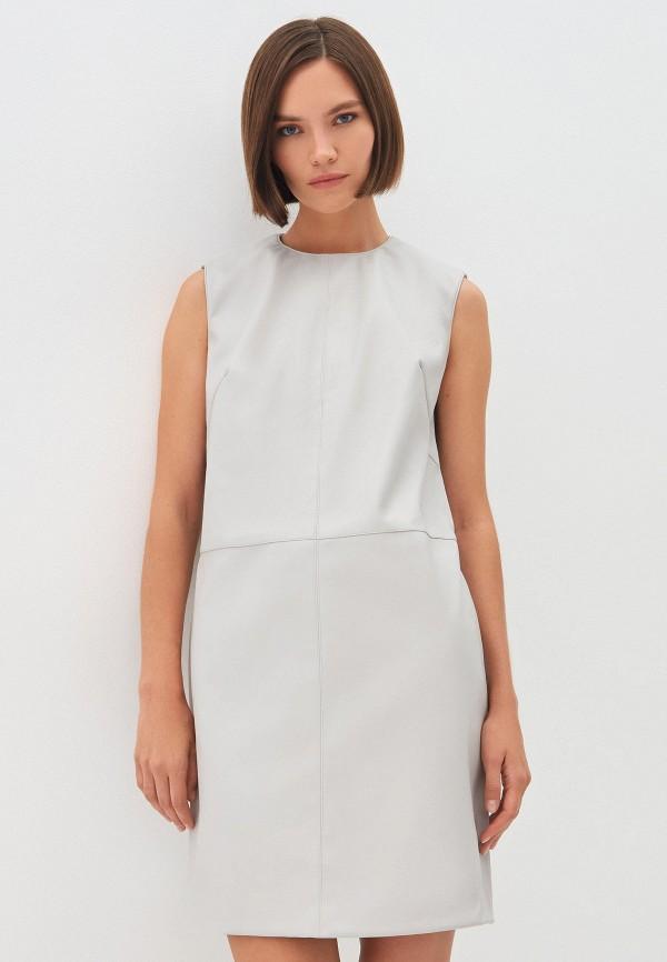 женское кожаные платье zarina, серое