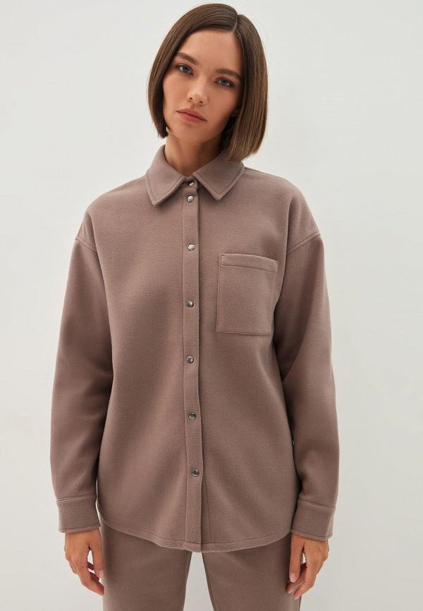 женская рубашка с длинным рукавом zarina, коричневая