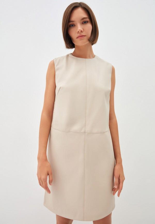 женское кожаные платье zarina, бежевое