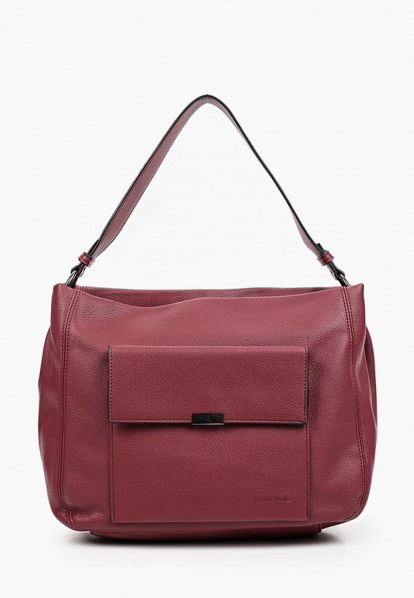 женская сумка с ручками thomas munz, бордовая