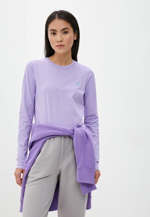 женский лонгслив polo ralph lauren, фиолетовый