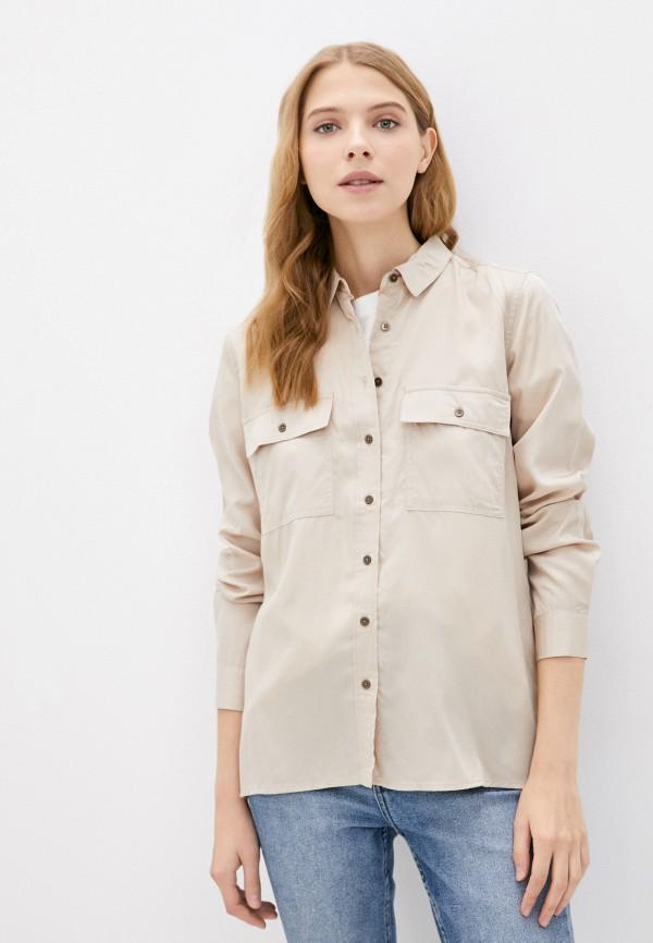 женская рубашка с длинным рукавом colin's, бежевая