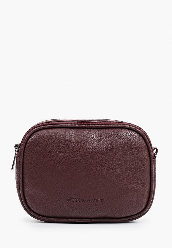 женская сумка через плечо vittoria vicci, бордовая
