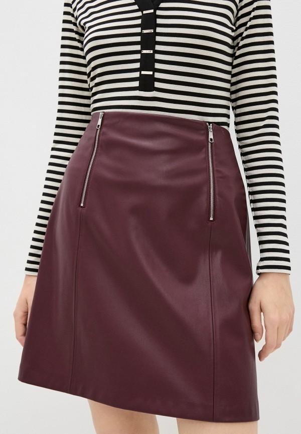 женская кожаные юбка boss, бордовая